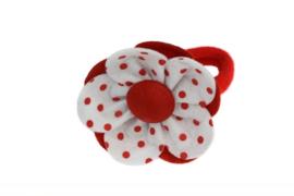 Handmade Big Felt Flower Ponytail Holder in White and Red
