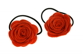 Handmade Hair Ties with Felt Roses in Red