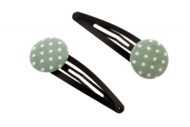 Fabric Button Hair Clips - Polka Dots in Antique Green & White
