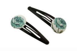 Fabric Button Hair Clips - Rose in Green