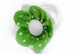 Handmade Big Felt Flower Ponytail Holder in Green and White