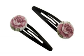 Fabric Button Hair Clips - Rose in Old Pink