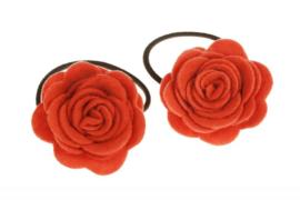 Handgemaakte haarelastiekjes met vilten roos in oranje
