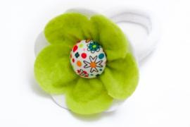 Handmade Big Felt Flower Ponytail Holder in Lime Green and White