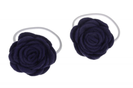 Handgemaakte haarelastiekjes met vilten roos in donkerpaars
