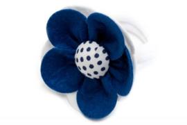 Handmade Big Felt Flower Ponytail Holder in Dark Blue and White