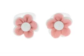 Handgemaakte baby en peuter haarelastiekjes met vilten bloem in licht oudroze en wit