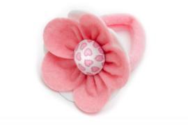 Handmade Big Felt Flower Ponytail Holder in Soft Pink and  White