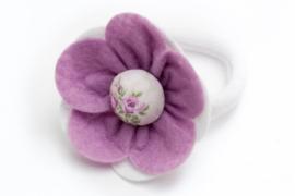 Handmade Big Felt Flower Ponytail Holder in Lavender and White