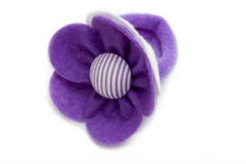 Handmade Big Felt Flower Ponytail Holder in Purple and White