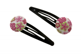 Fabric Button Hair Clips - Flowers in Pink & Green