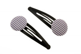 Fabric Button Hair Clips - Stripes in Light Purple & White
