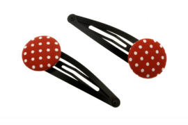 Fabric Button Hair Clips - Polka Dots in Red & White
