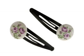 Fabric Button Hair Clips - Romantic Roses in Lavender