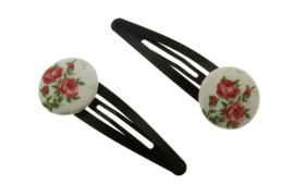 Fabric Button Hair Clips - Romantic Roses in Old Pink