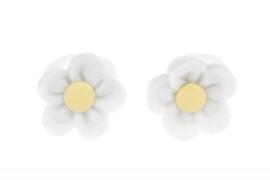 Handgemaakte baby en peuter haarelastiekjes met vilten bloem in wit en vanillegeel