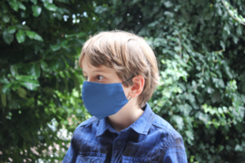 Katoenen mondkapje - blauw
