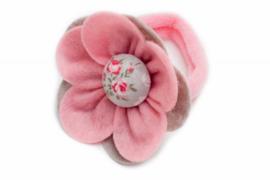Handmade Big Felt Flower Ponytail Holder in Light Pink and Gray