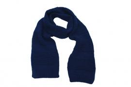 Handgebreide merino kindersjaal in donkerblauw