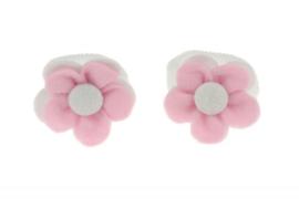 Handgemaakte baby en peuter haarelastiekjes met vilten bloem in lichtroze en wit
