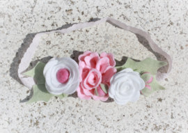 Handmade Headband with Felt Flowers in White, Light Pink and Pink