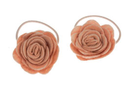 Handmade Hair Ties with Felt Roses in Light Old Pink