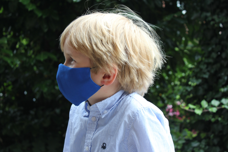 Katoenen mondkapje - kobaltblauw