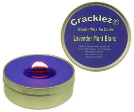 Cracklez® Knister Holzdocht Duftkerze in Dose Lavendel Mont Blanc. Blau-violett.