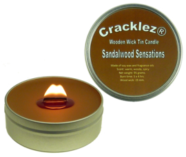 Cracklez® Crackling Scented Wooden Wick Tin Candle Sandalwood Sensations. Spicy Sandalwood. Dark-brown.