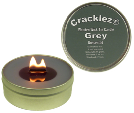 Cracklez® Crackling Unscented Wooden Wick Tin Candle Grey