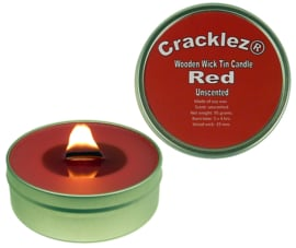 Cracklez® Crackling Unscented Wooden Wick Tin Candle Red