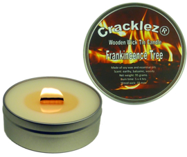 4 pcs Cracklez® Crackling Scented Wooden Wick Tin Candles Frankincence Tree. Uncolored.