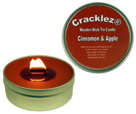 Cracklez® Crackling Scented Wooden Wick Tin Candle Cinnamon and Apple. Red-brown.