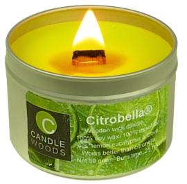 Citrobella® Kleine citronella kaars in blik met vensterdeksel en houtlont 90 g