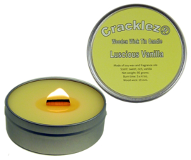 Cracklez® Crackling Scented Wooden Wick Tin Candle Luscious Vanilla. Light-yellow.