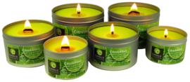 Citrobella® Grote citronella kaars in blik met vensterdeksel en houtlont 320 g