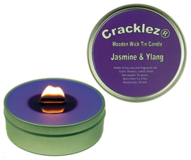 Cracklez® Crackling Scented Wooden Wick Tin Candle Jasmine and Ylang. Purple.