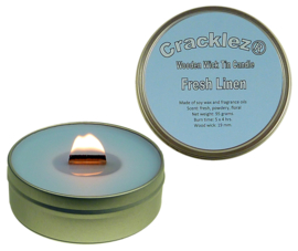 Cracklez® Crackling Scented Wooden Wick Tin Candle Fresh Linen. Light-blue.