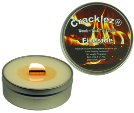 Cracklez® Crackling Scented Wooden Wick Tin Candle Fireside. Hard Wood Fire Scent. Uncolored.