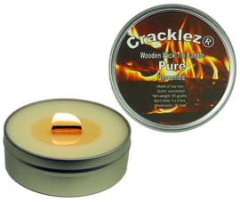 Cracklez® Crackling Unscented Wooden Wick Tin Candle Pure. Uncolored