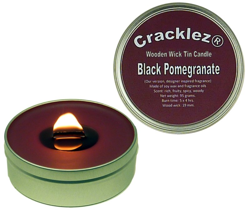 Cracklez® Crackling Scented Wooden Wick Tin Candle Black Pomegranate. Designer Perfume Inspired. Dark-red.