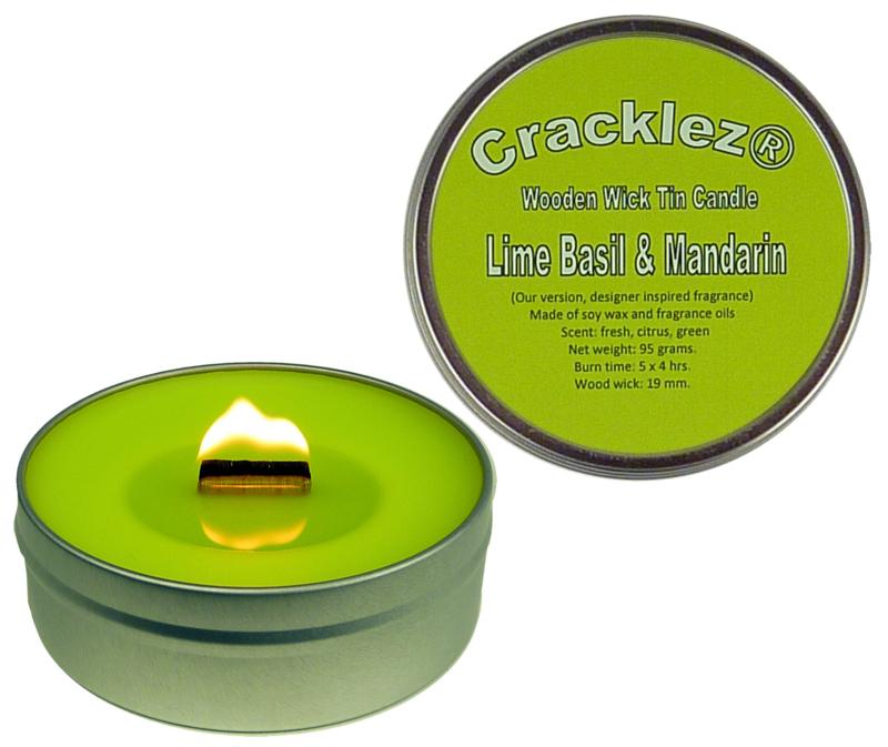 Cracklez® Crackling Scented Wooden Wick Tin Candle Lime Basil & Mandarin. Designer Perfume Inspired.