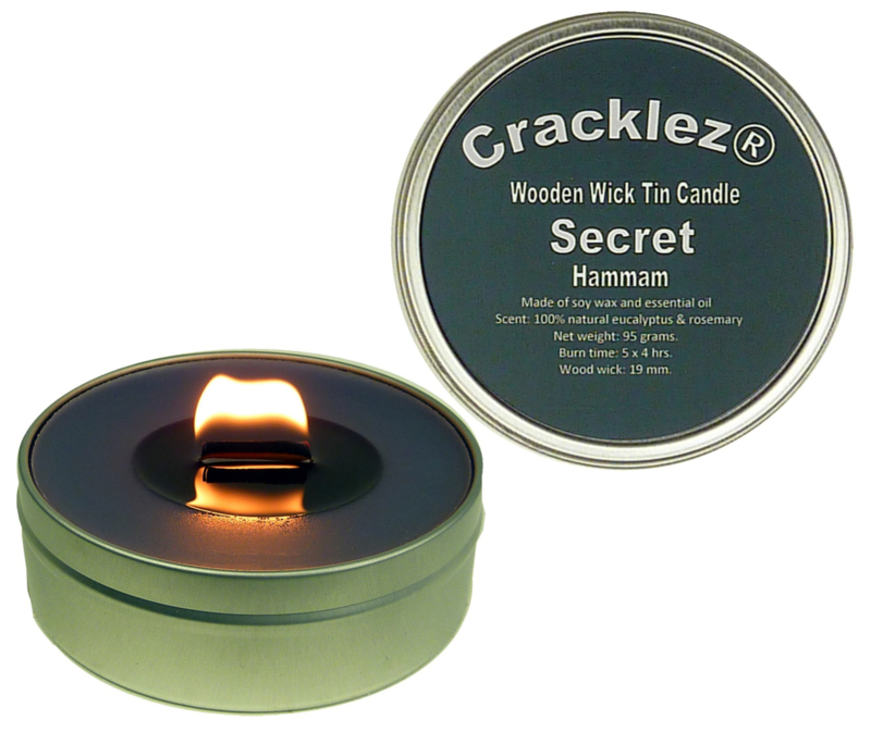 Cracklez® Crackling Scented Wooden Wick Tin Candle Secret Hammam. Eucalyptus and Rosmarin. Spa. Dark-grey. Aromatherapy.
