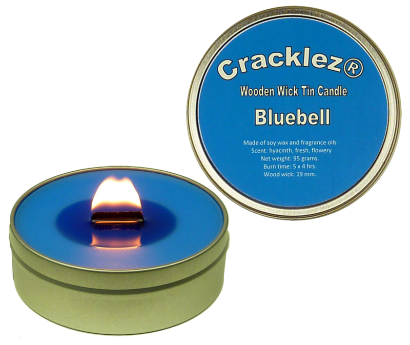 Cracklez® Crackling Scented Wooden Wick Tin Candle Bluebell. Wild Hyacinth. Blue.