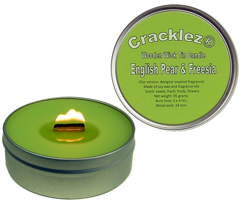 Cracklez® Crackling Scented Wooden Wick Tin Candle English Pear & Freesia. Designer Perfume Inspired. Light-green.