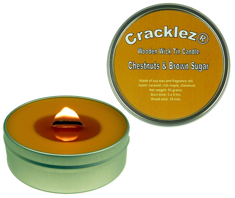 Cracklez® Crackling Scented Wooden Wick Tin Candle Chestnuts & Brown Sugar. Caramel and Nuts. Caramel-brown.