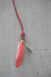 Haarveer roze/oranje