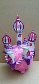 Klei-kasteel lampje roze/paars