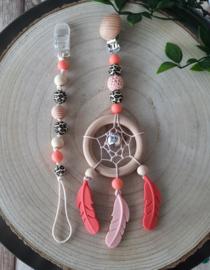 Dromenhanger set zalm roze , koraalrood en luipaardprint
