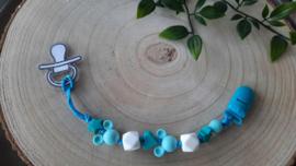 Speenkoord aquablauw, lichtblauw en wit